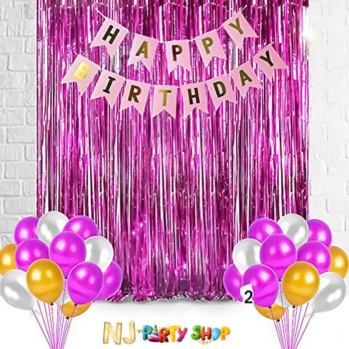 Pink & Golden birthday decoration combo