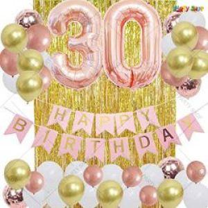 010J - Happy Birthday Decoration Combo - Rosegold & Golden - Set Of 47
