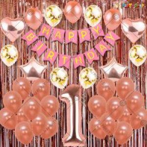 012J - 1st Happy Birthday Decoration Combo - Rose Gold & Pink - Set Of 45