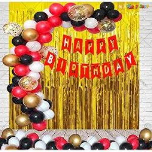 012L - Happy Birthday decoration Combo - Gold & Red - Set of 60