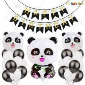 017P - Panda Theme Happy Birthday Decoration Combo -Set Of 36