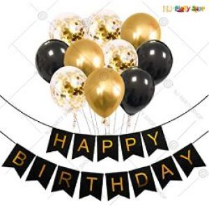 01A - Happy Birthday Decoration Combo - Black & Golden - Set of 37