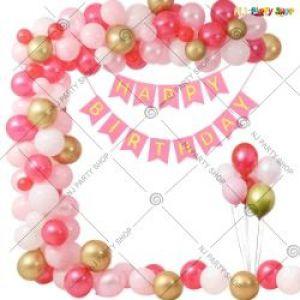 01J - Happy Birthday Decoration Combo - Pink & Golden - Set Of 45