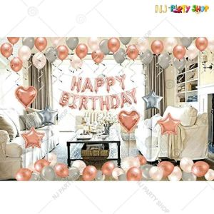 01Z - Happy Birthday Decoration Combo - Rose Gold & Silver - Set of 48