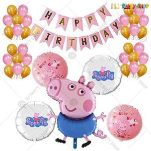 01U -Peppa Pig Theme Birthday Decoration Combo - Set of 50