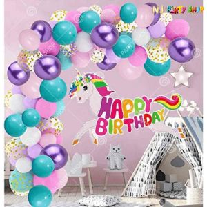 01U -Unicorn Theme Birthday Decoration Combo - Set of 74