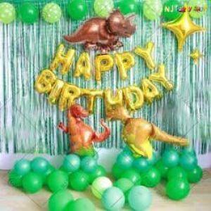 020S - Dinosaur Theme Happy Birthday Decoration Combo - Set Of 48