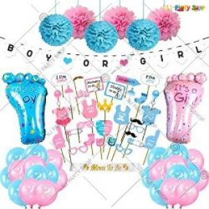 02J - Baby Shower Decoration Combo - Pink & Blue - Set Of 68