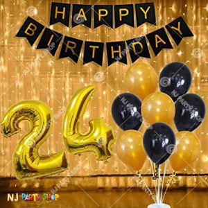 02M - Black & Golden Birthday Decoration Combo With Balloon Stand & Lights - Set of 37