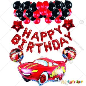 03T - Car Theme Birthday Decoration Combo - Set of 38