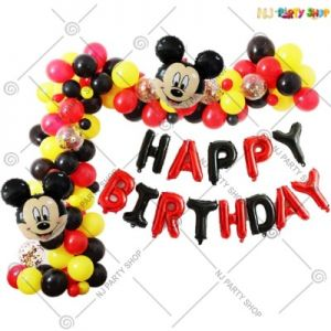 04A - Mickey Mouse Theme Birthday Decoration Combo - Set Of 65