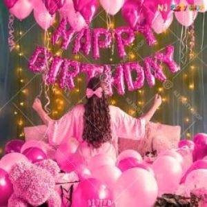04J - Happy Birthday Decoration Combo - Pink - Set Of 34