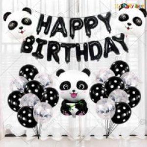 07G - Panda Theme Happy Birthday Decoration Combo - Set Of 39