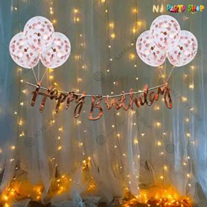 07Y -Rose Gold With Lights Birthday Decoration Combo- Set of 20