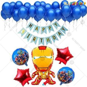 09U -Avengers Theme Birthday Decoration Combo - Set of 38