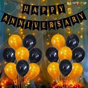 0B1 - Happy Anniversary Decoration Combo - Black & Golden - Set Of 37