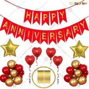 0B2 - Happy Anniversary Decoration Combo - Red & Golden - Set Of 44