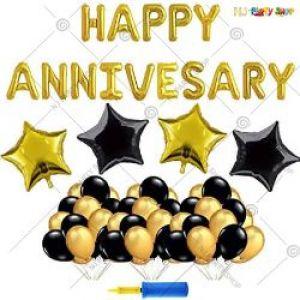0B3 - Happy Anniversary Decoration Combo - Black & Golden - Set Of 51