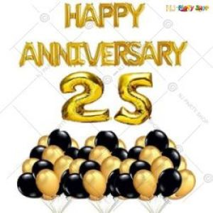 0B4 - Happy Anniversary Decoration Combo - Black & Golden - Set Of 48