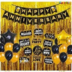 0B7 - Happy Anniversary Decoration Combo - Black & Golden - Set Of 52