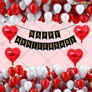10A - Happy Anniversary Decoration Combo - White & Red - Set Of 50
