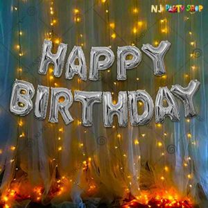 010P - Birthday Party Decoration Combo - Silver - Set of 14