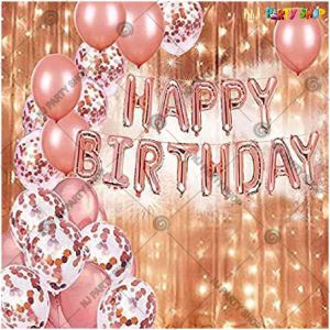 010Y -Rose Gold Birthday Decoration Combo - Set of 34
