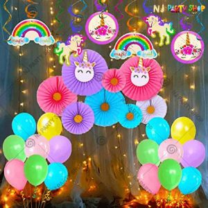 011T - Unicorn Theme Birthday Decoration Combo With Lights - Set of 45