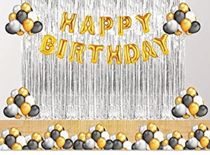 011Y Golden & Silver Birthday Decoration Combo - Set of 45