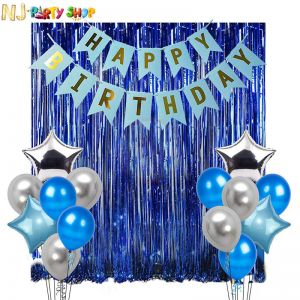 012B Model - Birthday Decoration Combo - Blue - Set of 17 Pcs