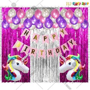 012T - Unicorn Theme Birthday Decoration Combo - Set of 48