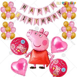012U -Peppa Pig Theme Birthday Decoration Combo - Set of 50
