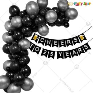 013S - Birthday Party Decoration Combo - Black & Silver - Set of 60