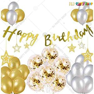 013Y -Gold & Silver Birthday Decoration Combo - Set of 43