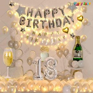 014W - Birthday Party Decoration Combo - Silver & White - Set of 80
