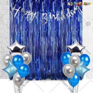 016K - Birthday Party Decoration Combo - Blue & Silver - Set of 34