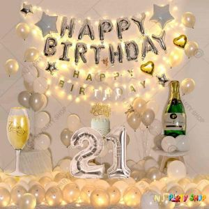 016W - Birthday Party Decoration Combo - Silver & white - Set of 80