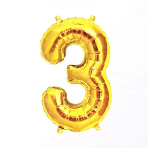 40 Inches Number 3 Golden Foil Balloon