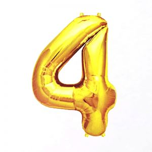 40 Inches Number 4 Golden Foil Balloon