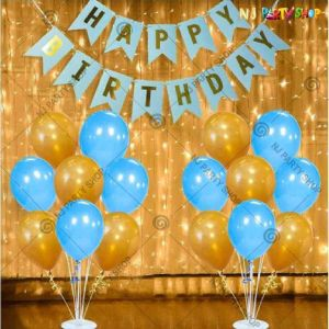 018Q - Birthday Party Decoration Combo - Blue & Golden - Set of 34