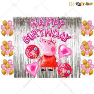 019U -Peppa Pig Theme Birthday Decoration Combo - Set of 50