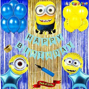 018U -Minion Theme Birthday Decoration Combo - Set of 50