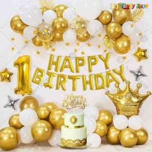 018W - Birthday Party Decoration Combo - Golden & White -Set of 52