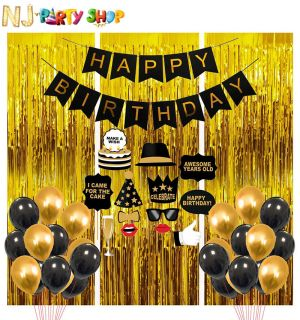 019B Model - Birthday Decoration Combo -Black & Golden - Set of 45 Pcs
