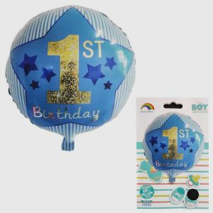 1st Birthday Boy Foil Balloon - Model 001
