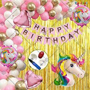 2A - Unicorn Theme Happy Birthday Decoration - Pink - Set Of 67