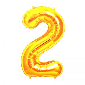 30 Inches Number 2 Golden Foil Balloon
