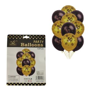 30th Birthday Rubber Balloons - Set of 10