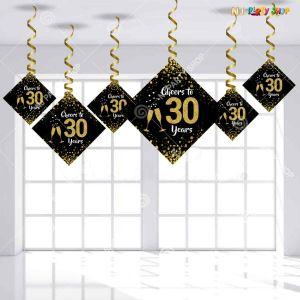30th Happy Birthday Swirls Decoration - Model Y1