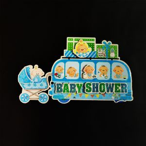 3D Glitter Baby Shower Bus Small Hanging/Sticker Decoration - Blue